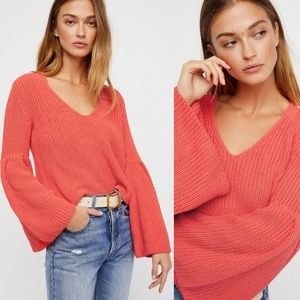 Free People Damsel Ribbed Pullover Sweater Coral